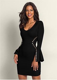 bodycon grommet dress