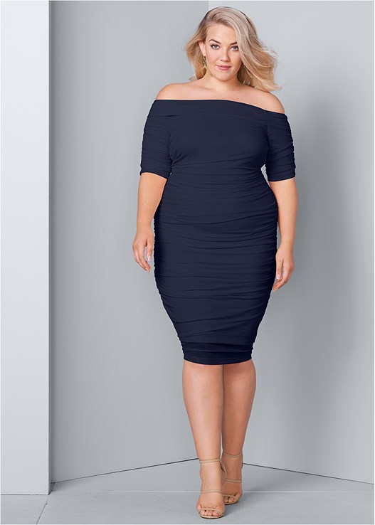5b5a82ffac PLUS SIZE RUCHED MESH BODYCON DRESS