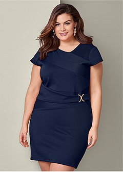 plus size trim detail bodycon dress
