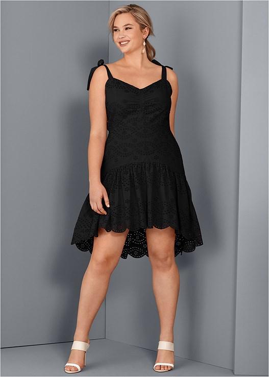 EYELET DETAIL DRESS,COLOR BLOCK MULES