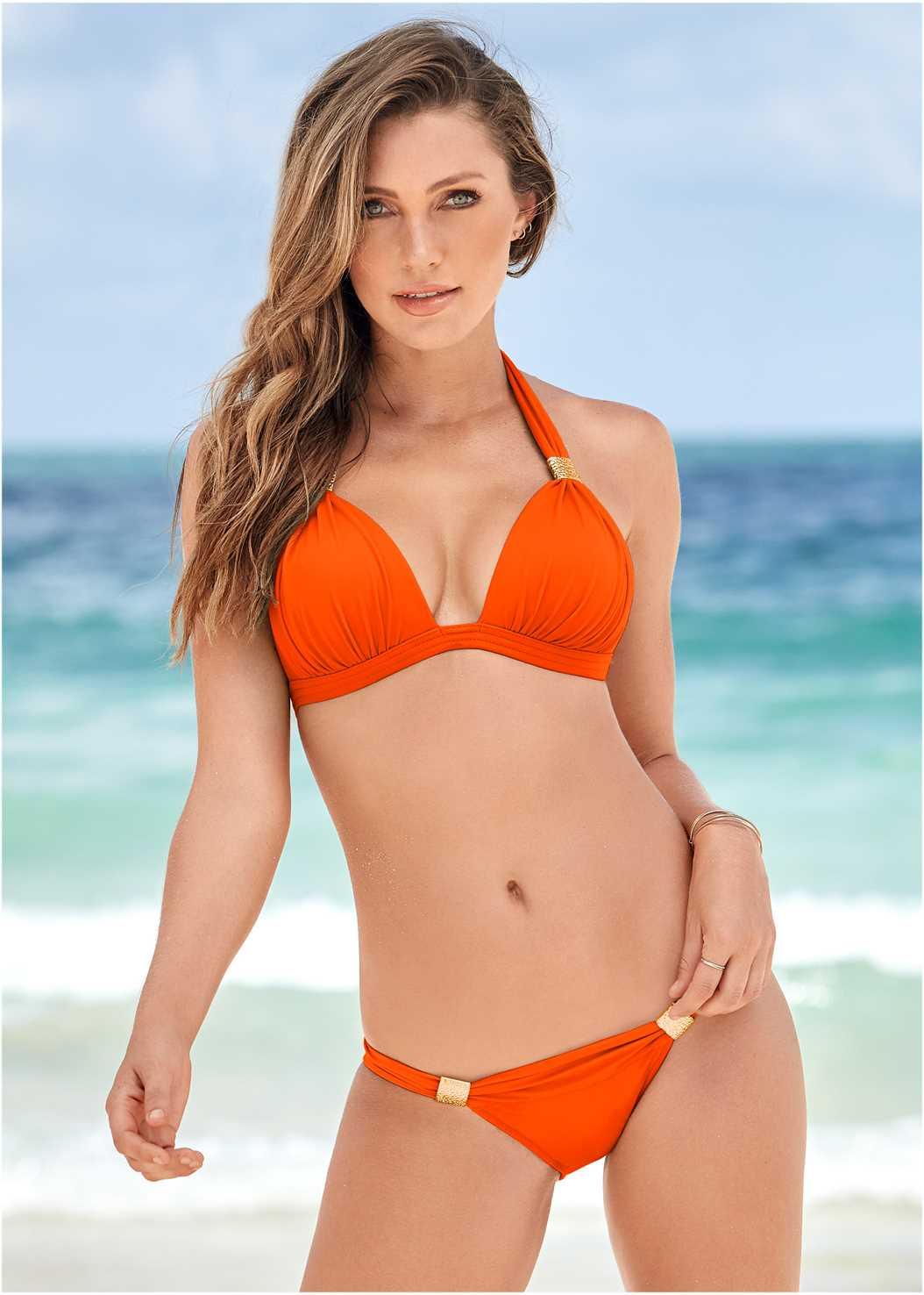 Goddess Enhancer Push Up Halter Top,Mid Rise Hipster Classic Bikini Bottom