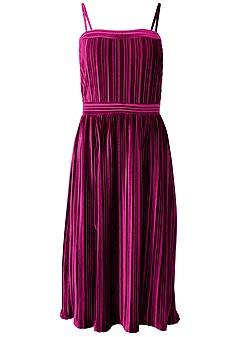 plus size velvet pleated dress
