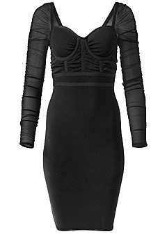 plus size mesh sleeve bandage dress