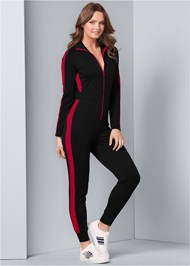 Front View Stripe Lounge Jumpsuit