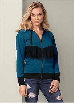 lace detail zip up hoodie