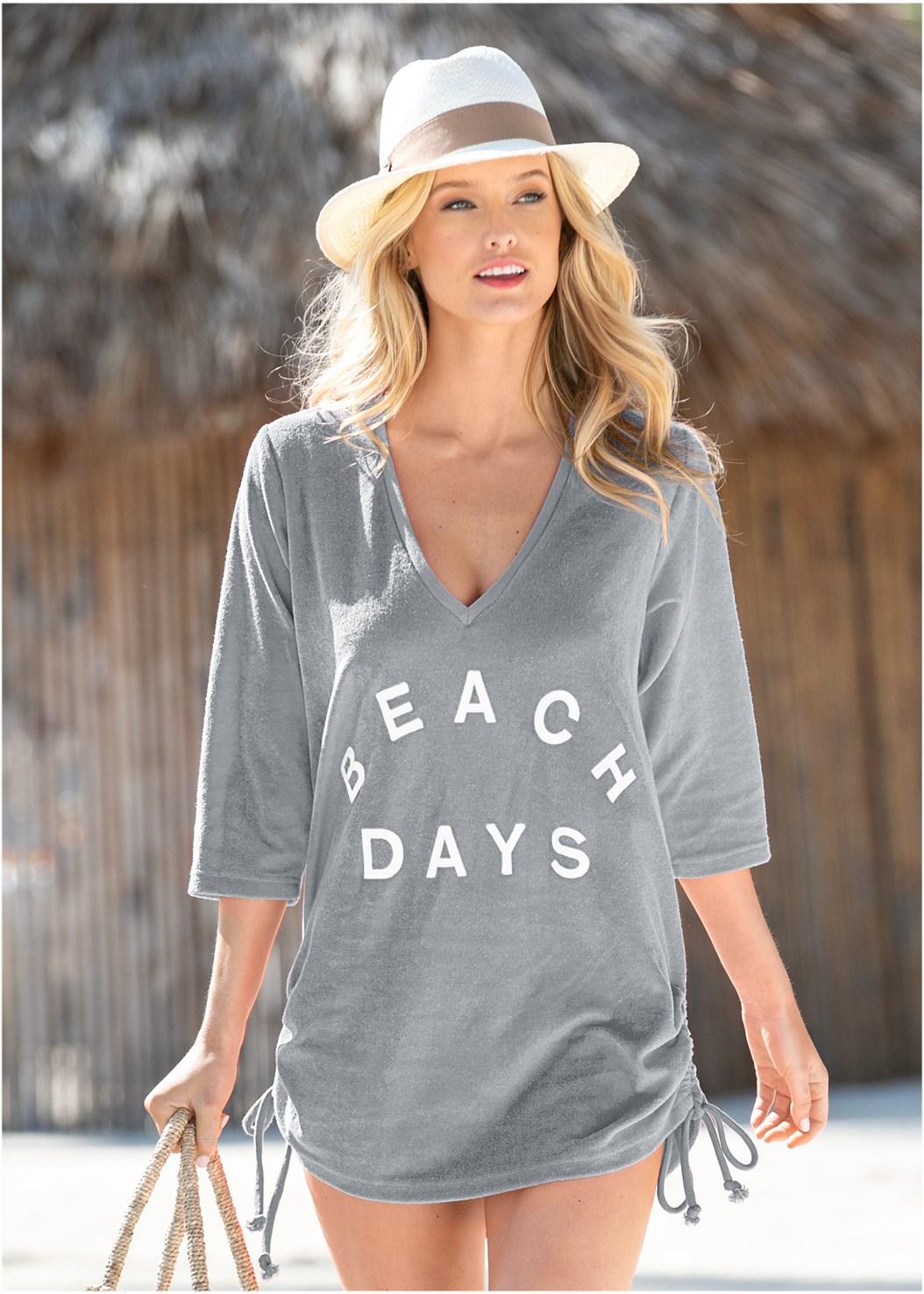 Deep V Beach Cover-Up,Beaded Crochet One-Piece