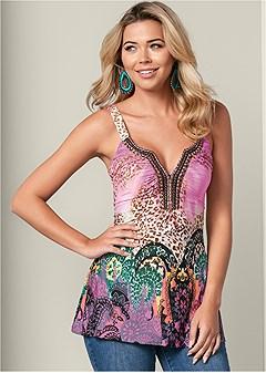 embellished leopard top