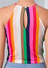 Alternate View Striped Tie Front Crop Top