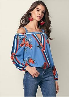 cold shoulder print blouse