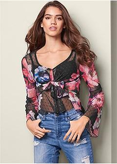 mesh floral print top