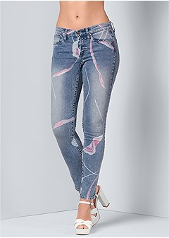 abstract print jeans