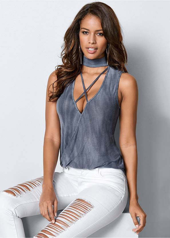 Strappy Surplice Top,Ripped Jeans,Ripped Cropped Jeans,T-Strap Ankle Heels,Pleated Tote Bag