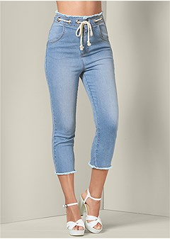 rope tie cropped jeans