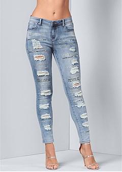 embellished rip jeans