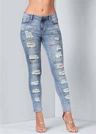 Front View Embellished Rip Jeans