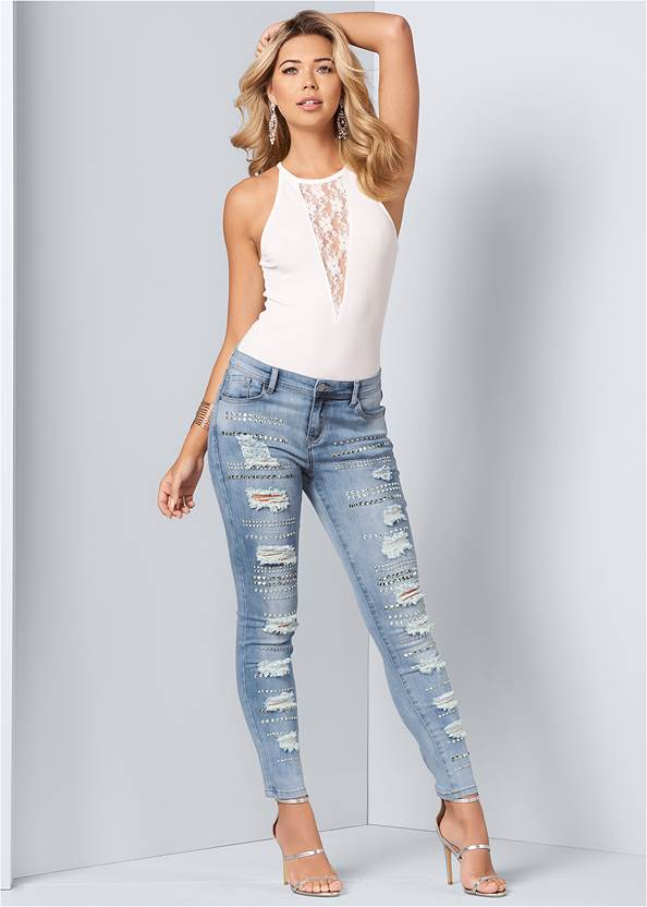 Embellished Rip Jeans,Embellished Ripped Jeans