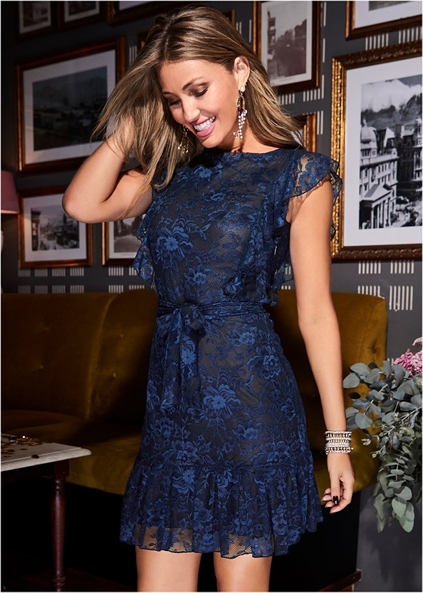 All Over Lace Dress,Embellished Strappy Heel
