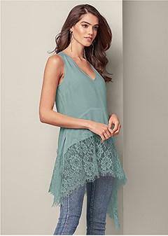 asymmetrical lace blouse