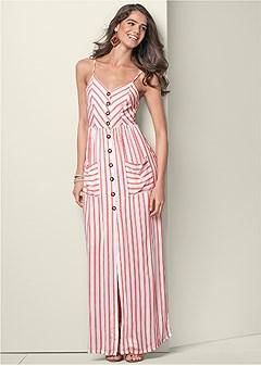 stripe print maxi dress