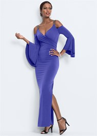 Front View Cold Shoulder Long Dress