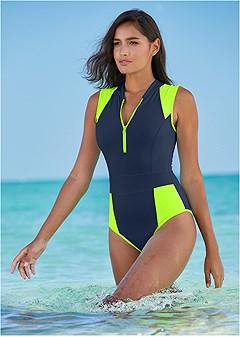 sleek zip up one-piece