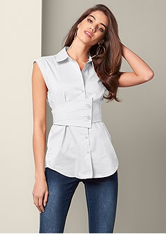 button up belted blouse