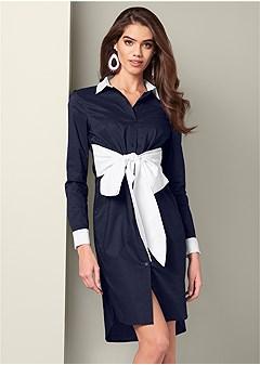 bow detail shirt dress