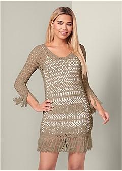 crochet fringe detail dress
