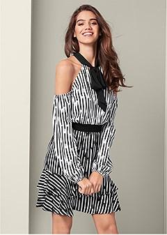 stripe detail dress