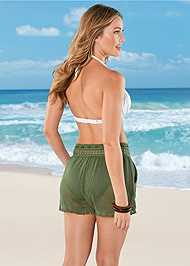 Cropped back view Braid Detail Mesh Shorts
