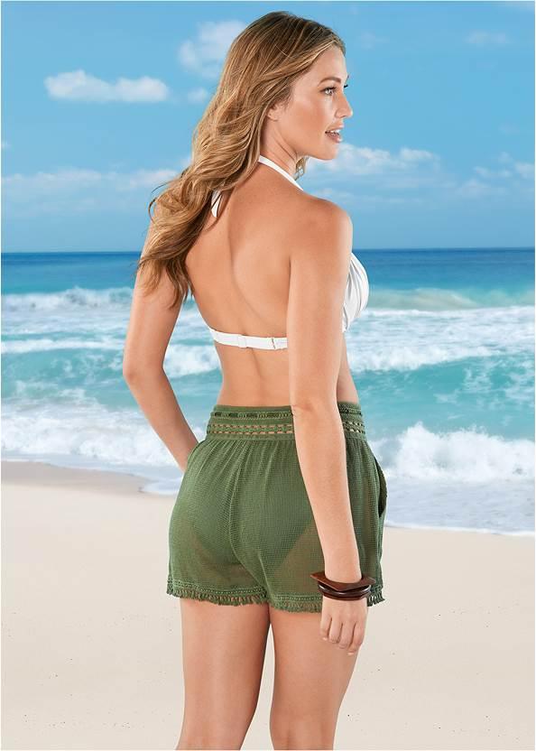 Cropped back view Braid Detail Mesh Shorts