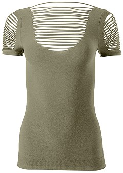 plus size seamless cut out top