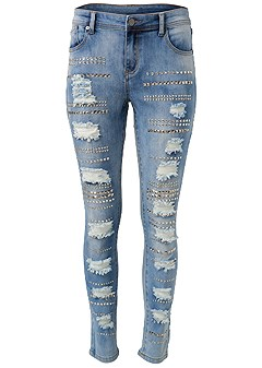 plus size embellished rip jeans