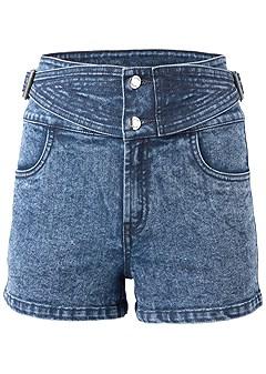 plus size buckle detail shorts