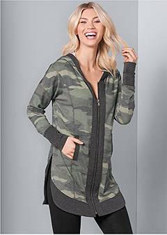 tunic length zip up hoodie