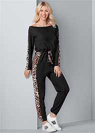 Front View Print Detail Jumpsuit