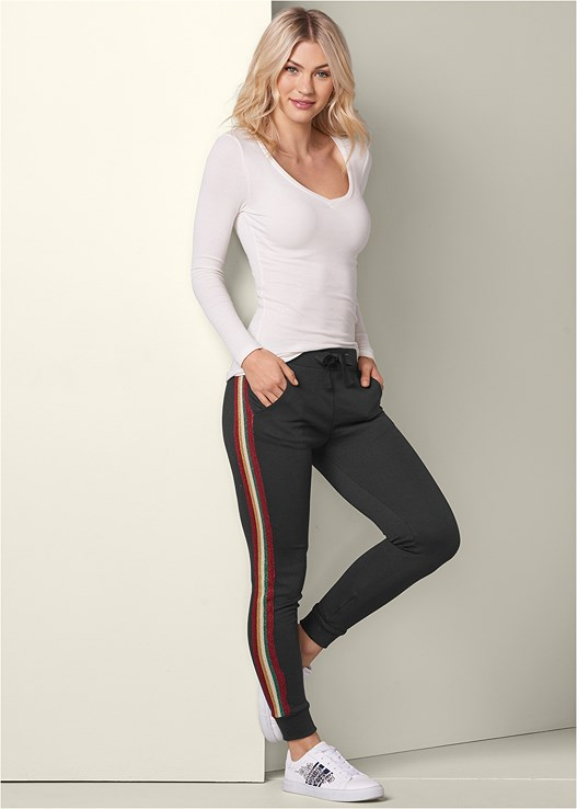 METALLIC STRIPE JOGGERS,RIBBED V-NECK TOP,EMBELLISHED SNEAKER
