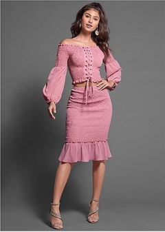 smocked midi skirt set