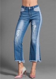 Waist down back view Two Toned Distressed Jeans