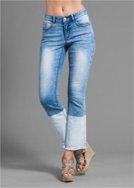 Waist down back view Two Toned Jeans