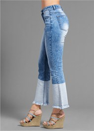Waist down side view Two Toned Jeans