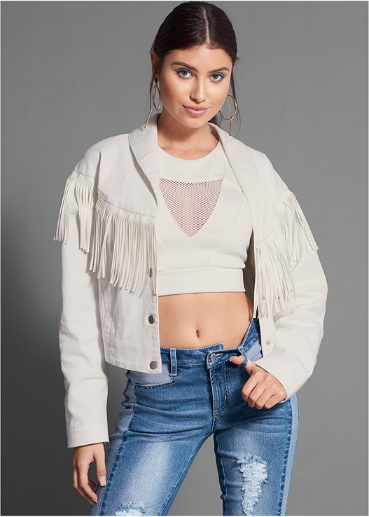 FRINGE DETAIL DENIM JACKET,MESH DETAILED CROP TOP,TWO TONED DISTRESS JEAN,HOOP DETAIL EARRINGS