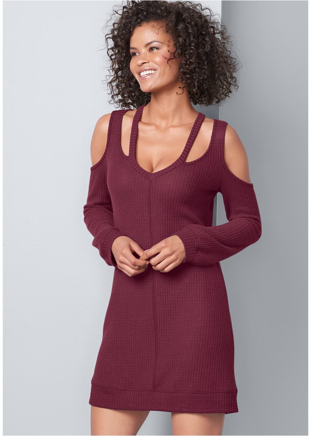Cut Out Detail Lounge Dress,Fringe Handbag