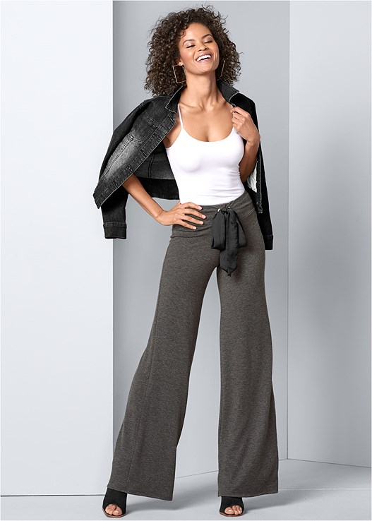 SATIN TIE LOUNGE PANTS,SEAMLESS CAMI,JEAN JACKET,EVERYDAY YOU STRAPLESS BRA,OPEN HEEL BOOTIE