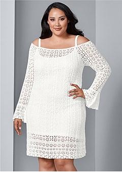 plus size cold shoulder crochet dress