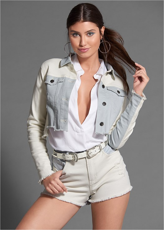 TWO TONED DENIM SHORTS,TWO-TONED DENIM JACKET,CARGO V-NECK SHIRT