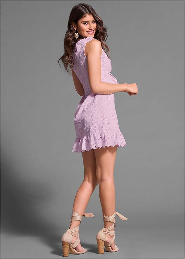 Full back view Tie Front Eyelet Dress