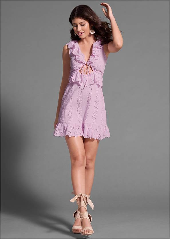 Full front view Tie Front Eyelet Dress