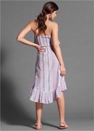 Full back view Striped Skirt Set