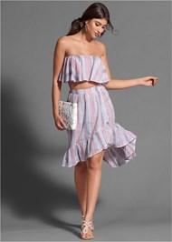 Full front view Striped Skirt Set